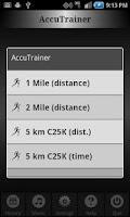 Screenshot of C25K Running AccuTrainer