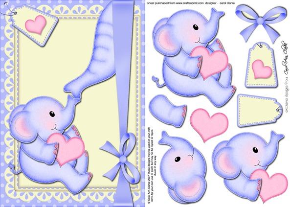 decoupage 3d elefantinho