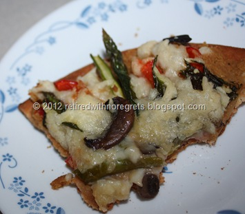 Roasted Garlic Hummus Pizza with sweet peppers mushrooms basil and asparagus - yum
