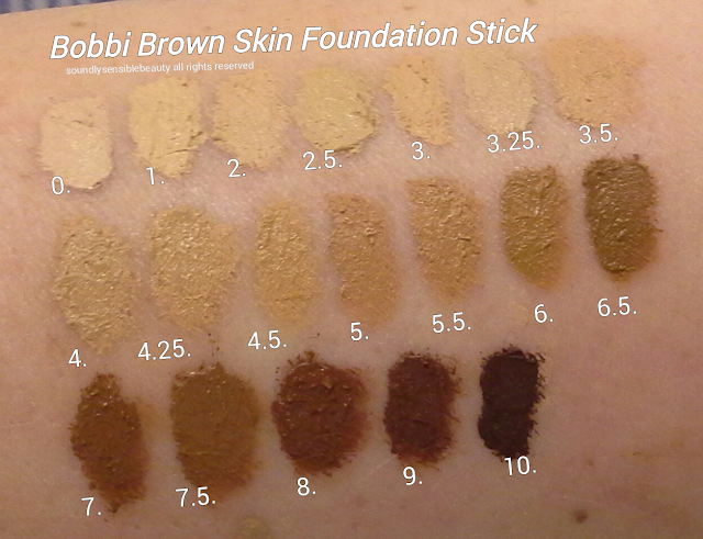 Bobbi Brown Skin Foundation Stick; Review & Swatches of Shades-0 Porcelain, 1 Warm Ivory, 2 Sand, 2.5 Warm Sand, 3 Beige, 3.25 Cool Beige, 3.5 Warm Beige, 4 Natural, 4.25 Natural Tan, 4.5 Warm Natural, 5 Honey, 5.5 Warm Honey, 6 Golden, 6.5 Warm Almond, 7 Almond, 7.5 Warm  Walnut, 8 Walnut, 9 Chestnut, 10 Espresso