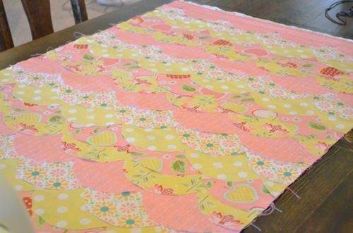 All scallops sewn on Baby Quilt tutorial