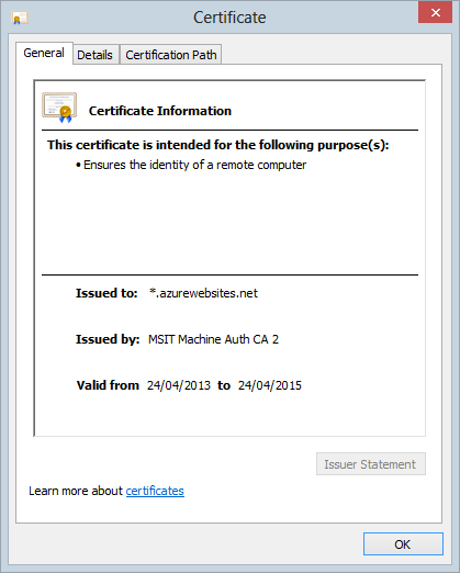 The *.azurewebsites.net wildcard certificate
