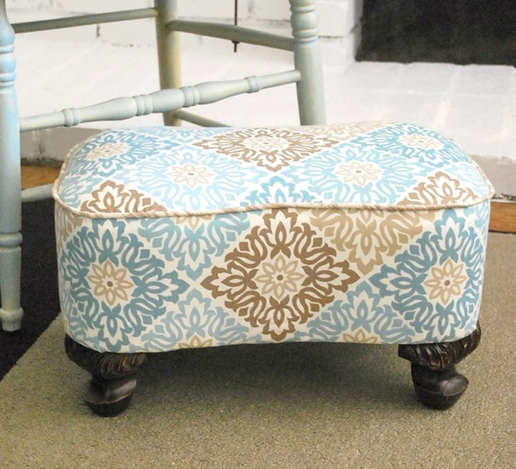 DIY Upholstered Footstool -- The Silly Pearl
