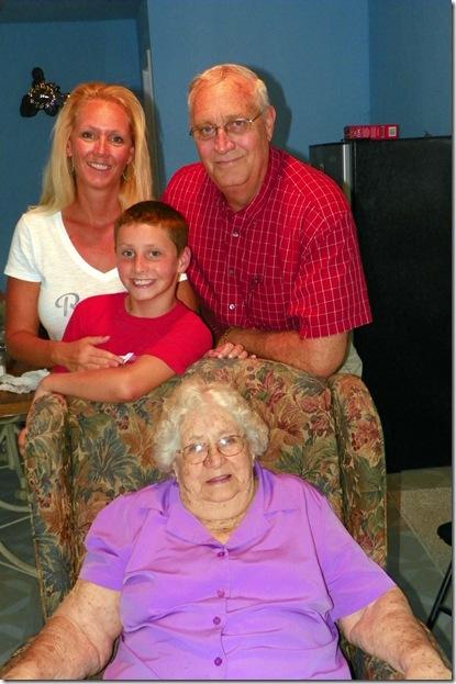 Stephanie Baker Vaughan (40), Logan Vaughan (9), Grandma Pauline Baker (81), Don Baker (64)