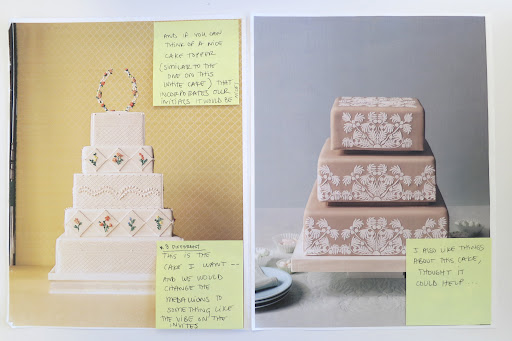 The cakes, side-by-side with design notes on post-its.