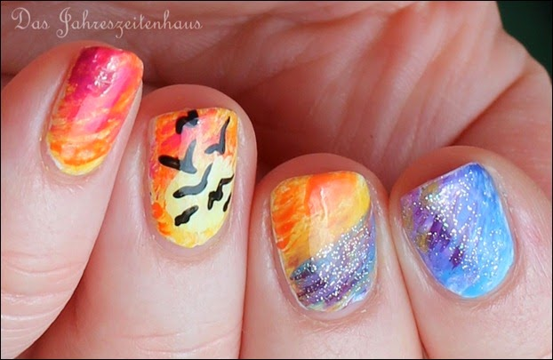 Flying Birds Sundown Nail Art