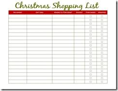 Christmas Shopping List - Green