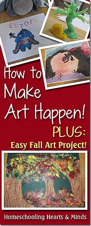 Tips for bringing more ART into your homeschool, plus instructions for fun (and easy) fall art project @ Homeschooling Hearts & Minds