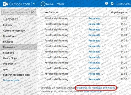 Recuperar emails eliminados en Outlook - recuperar mensajes eliminados