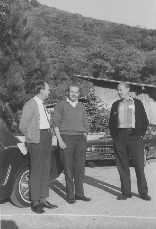 Jim Kepner (left) and W. Dorr Legg (right) standing outside with an unidentified person. Undated.