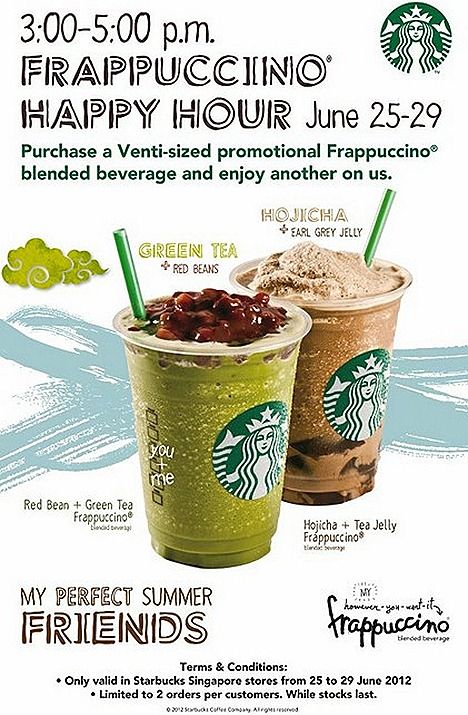 Starbucks offer Green Tea Red Bean Frappuccino Hojicha Tea Jelly Earl Grey one for one Summer treats drink teatime companion singapore stores