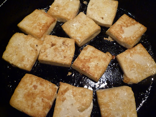 Tofu browned and crisp