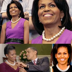 Michelle Obama wear Pearl Necklace