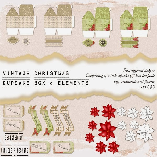 Vintage Christmas Cupcake Box Set Front Sheet