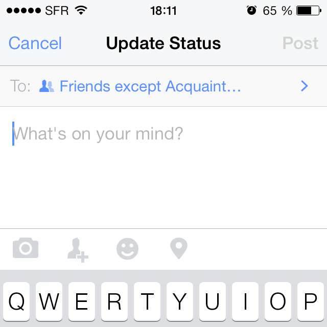 Facebook for iPhone 7.0 new privacy for status updates