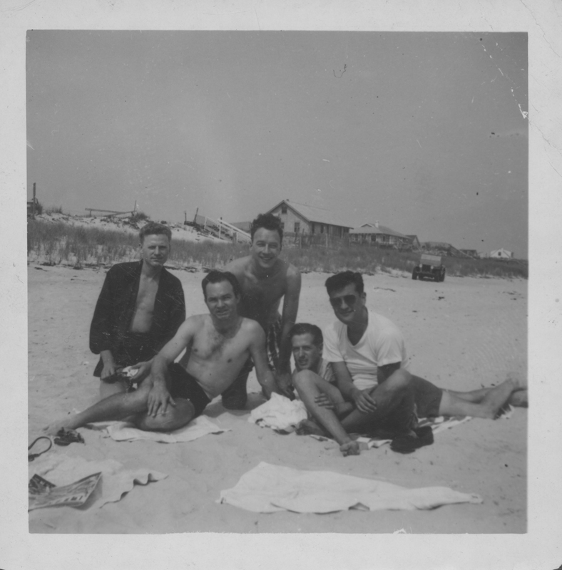 Tom and Walt (right) with friends on the beach at Cherry Grove. 1950.