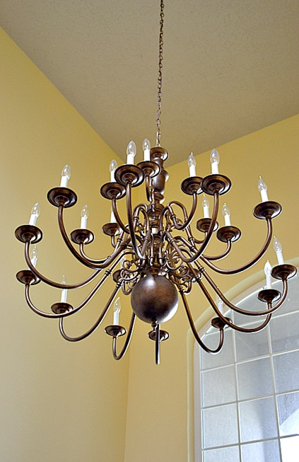Brass Chandeliers Makeover At The Picket Fence – Chandeliers Brass