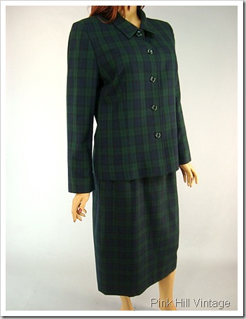 Pendleton Blue and Green Plaid skirt suit 5