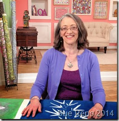 Sue Reno on the set of a Quilting Arts Video Workshop, image 1