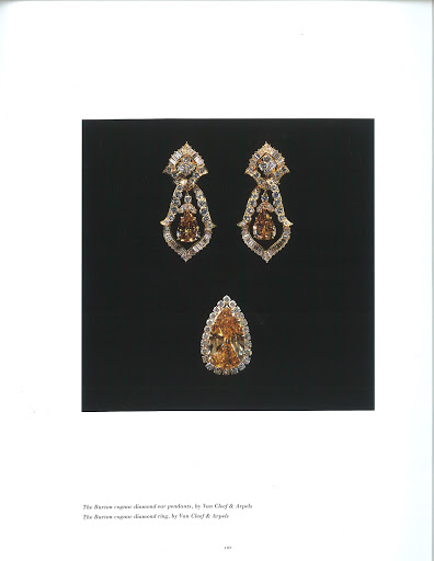 Here are the Burton cognac diamond ear pendants and diamond ring.  (photo, Elizabeth Taylor:My Love Affair With Jewelry)