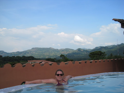 Heather in the rooftop pool at La Posada del Belssy, Copan Ruinas, Honduras