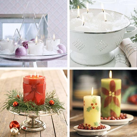 decoración con velas en Navidad