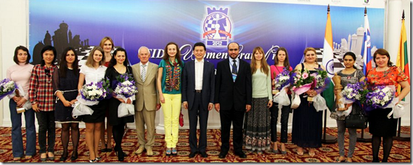 Closing Ceremony with Players and Officials of Kazan FIDE Women Grand Prix 2012