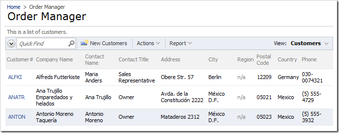 Customers grid on the Order Manager page without any customization.