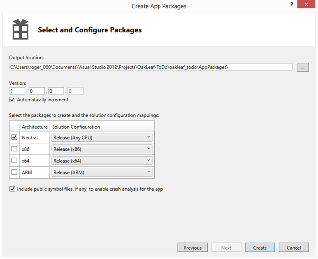 SelectAndConfigureAppPackage