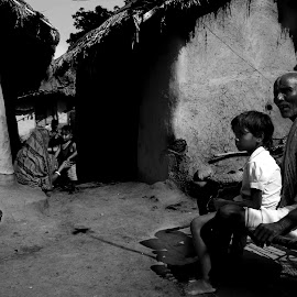 Relation by Abhishek Maitra - People Family ( monochrome, village, hut, india, old man )