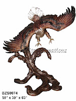 "Bronze Eagle Swooping Right Over Tree 59"" x 39"" x H63"""