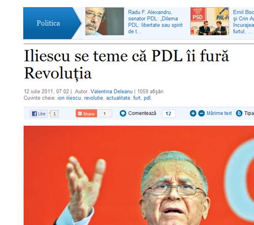 Iliescu se teme că PDL îi fură Revoluţia_12_07_2011508