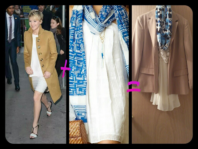 Jennifer Lawrence + un foulard bleu m'inspire mon look du jour!