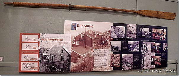 04 Kolb Studio evolution interp sign at A Grand Life at the GRCA Exhibit Kolb Studio SR GRCA NP AZ pano (1024x432)