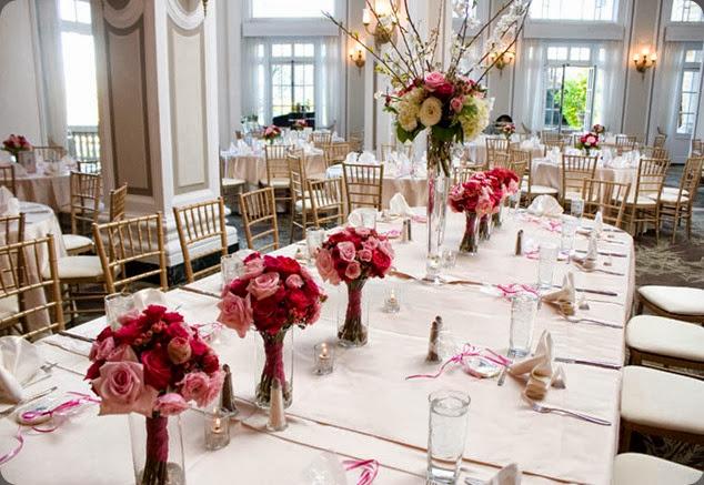 bouquets as centerpieces georgian-terrace-ballroom-pink-bouquet-centerpiece boukates