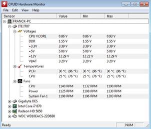 HWMonitor Hardware Sensors Monitoring