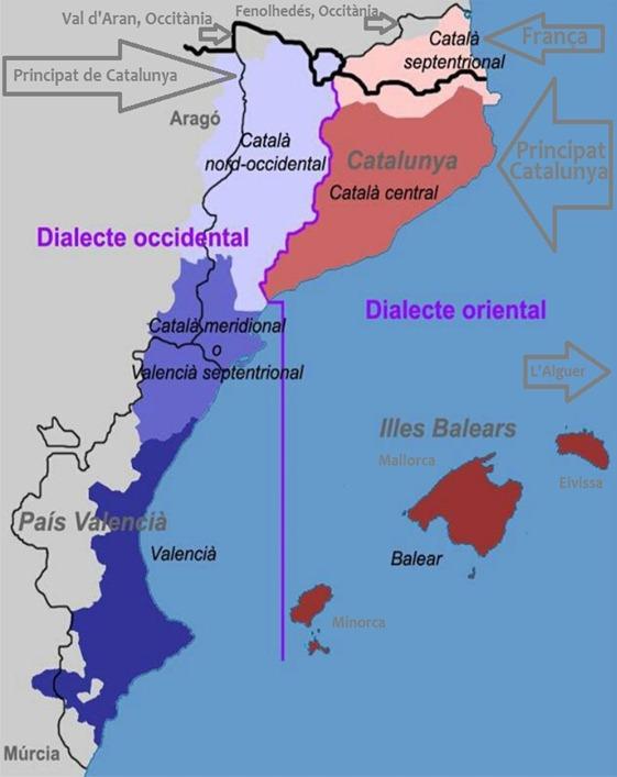 mapa lingüistica e politica dels Païses Catalans