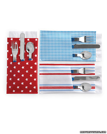 Keep silverware and napkins in one place for picnics and other meals on the go. Oilcloth is the ideal material for this pocket project; it won't fray, plus it can be wiped clean easily.  <http://www.marthastewart.com/272991/pocket-knives-and-more>