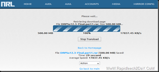 file has been transload from file host to your Rapidleech server