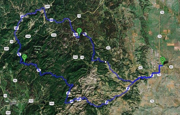 Map of Black Hills Day Trip