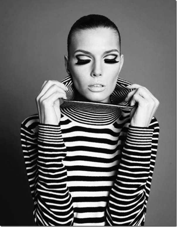 Stripe fashion and lovely makeup