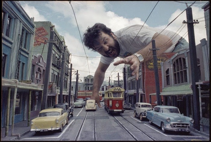 Peter Jackson, with the miniature setreproducing 1950s Newtown from the film 'Braindead'