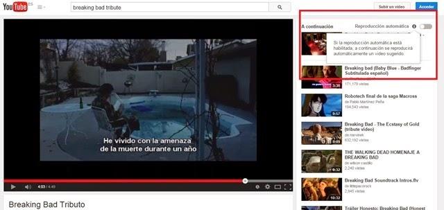 Desactivar reproducción automática en Youtube