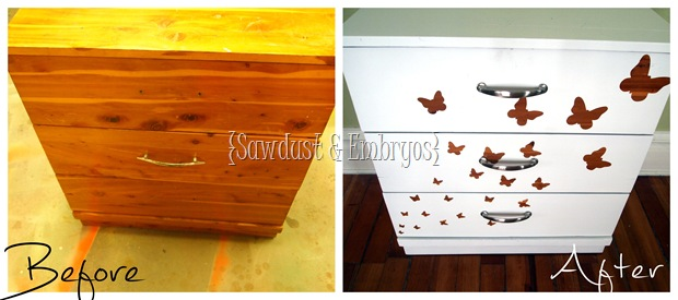 Wood Grain Butterfly Dresser {Using Vinyl as a Stencil!} SAWDUST AND EMBRYOS