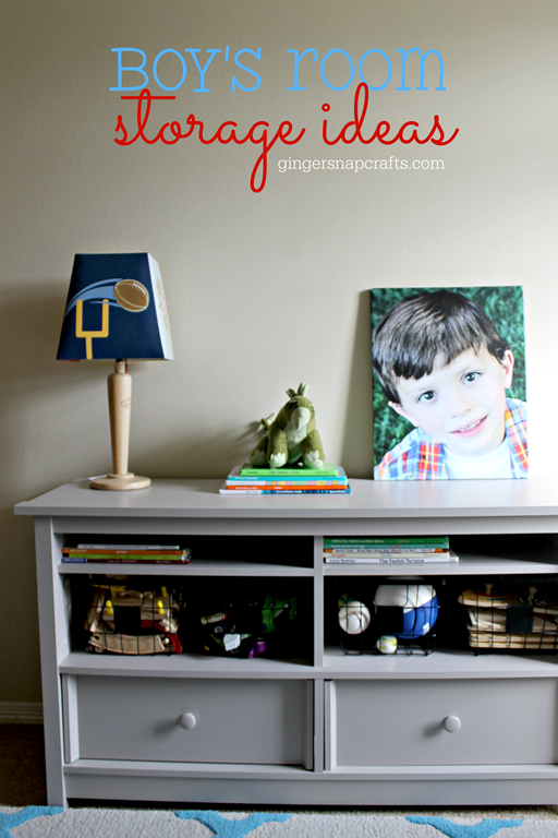 Boys Room Storage Ideas at GingerSnapCrafts.com
