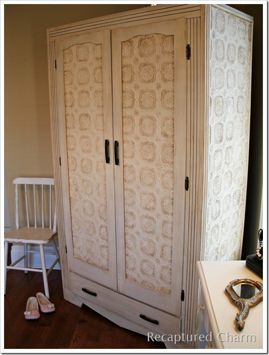 wallpapered armoire 030a