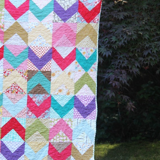 Cluck Cluck Sew, Chevron Scrap Quilt