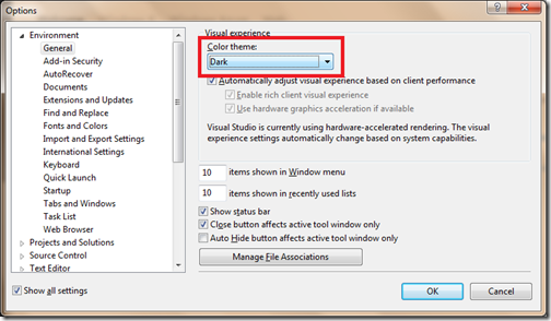 Dark Visual Experience in Visual studio 2012- A new visual studio feature.
