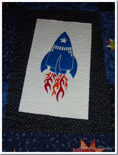 wonky star space quilt rocket