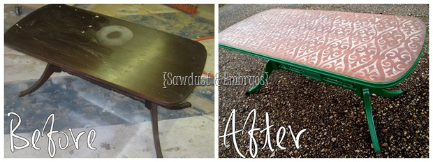 Coffee Table Before & After {Sawdust and Embryos}